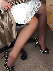 Sexy brunette secretary teases..