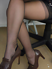 Secretary in stockings and..